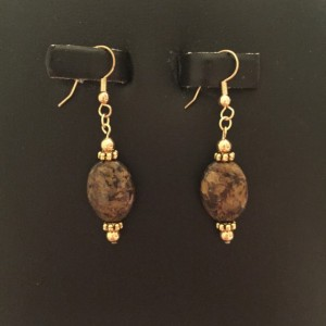 14K Gold Plate Findings with Real Bronzite Drop Earrings