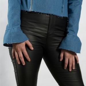 Womens denim moto jacket