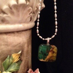 """Petals"" Real Hand-Dyed Rose Petal Square Pendant with Swarovski Crystal Option – Looks like butterfly wings!"