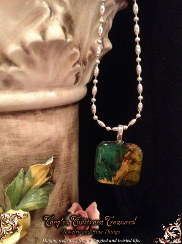 """""""Petals"""" Real Hand-Dyed Rose Petal Square Pendant with Swarovski Crystal Option – Looks like butterfly wings!"""