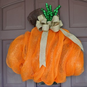 Pumpkin Deco Mesh Fall or Halloween Wreath