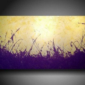 Art Original abstract Painting modern landscape painting bright PURPLE Light YELLOW art painting large landscape painting 24 X 48