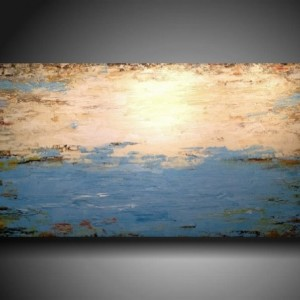 Art Original abstract Painting modern landscape painting medium blue art painting large landscape painting 24 X 48