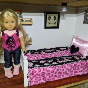 American Girl Doll Bedding Matching Pillows Handmade, Pink and Black Animal Print Bling Fabric