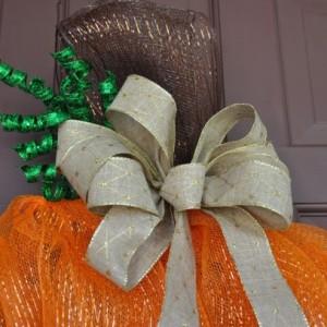Pumpkin Deco Mesh Fall or Halloween Wreath