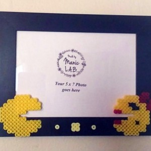 5x7 Black Picture Frame with Mr. & Ms. Pacman Perler Made- Geekery- Nerd Love- Retro