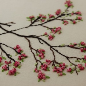 Cherry Trees Blossoms Hand Embroidery Hoop Art Modern Aftcra