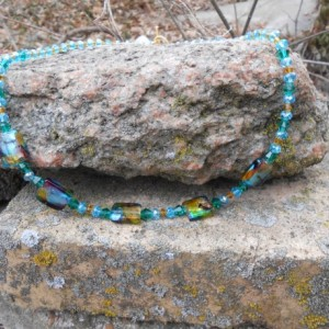Aqua and Golden Yellow Crystals and Muti Colored Foil Bead Necklace