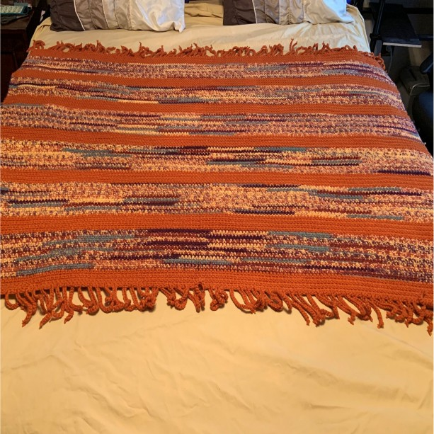 """Multi Rust Colored Hand Crocheted Afghan with Fringe Finish  50"""" x 55"""""""
