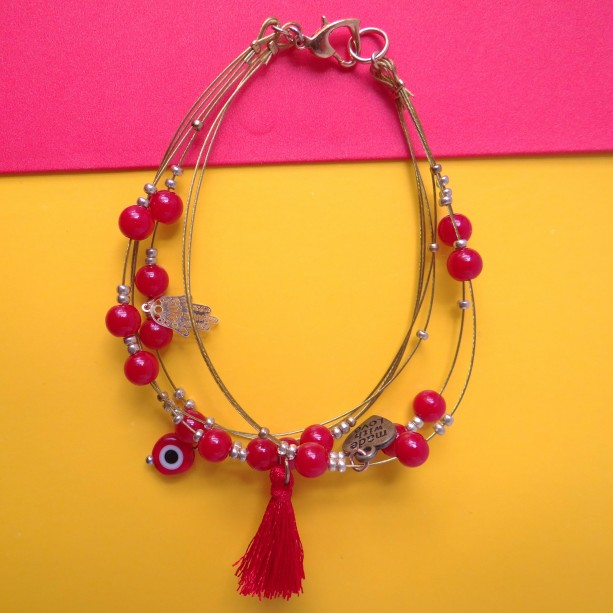 Hamsa Hand Red and gold Bracelet