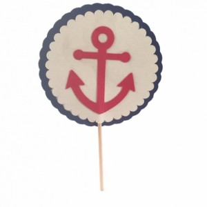 Nautical Anchor Cupcake Topper - Set of 12