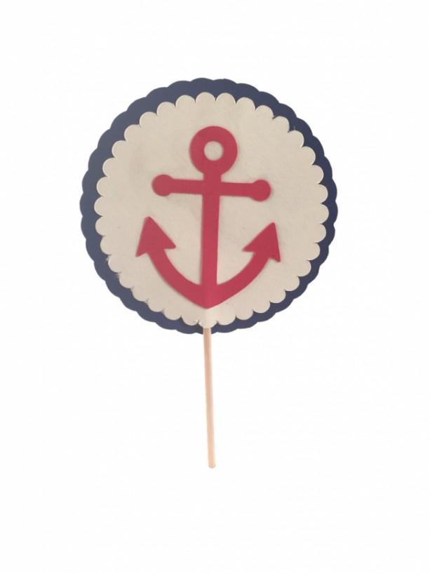 Nautical Anchor Cupcake Topper - Set of 12