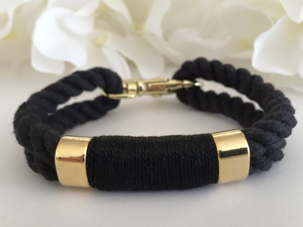 Nautical Black Rope Bracelet with Black Wrap