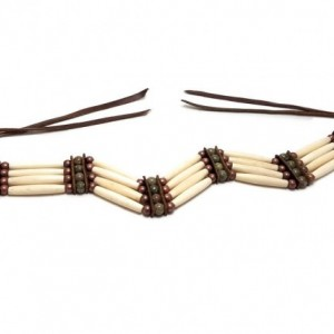 Handmade Traditional Antiqued 4 Row Buffalo Bone Hairpipe Tribal Choker Necklace