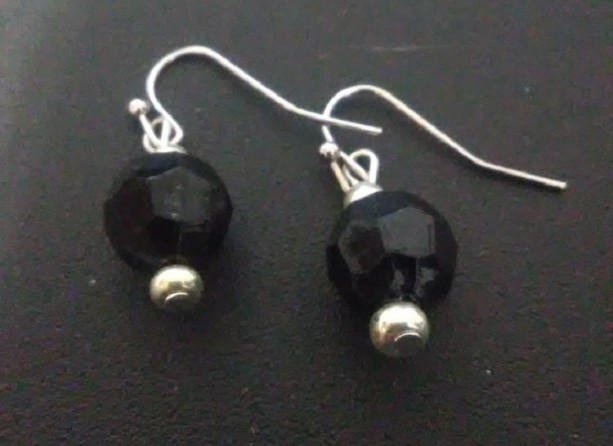 Black Faceted Ball Earrings