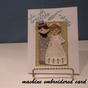machine embroidery wedding card