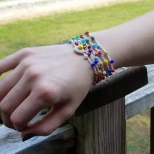 """Beaded Wrap Bracelet - Necklace - Seed Bead Wrap Bracelet - 40"""" long"""