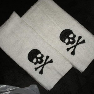 6 piece Set Embroidered Bathroom towels -  Skull and crossbones - more colors available gothic housewares pirate bathroom skull bathroom