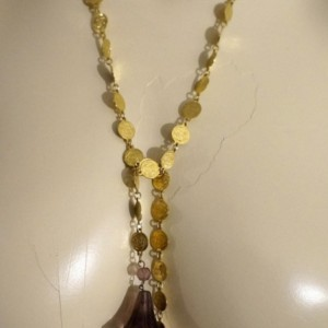 Indie Boho Vintage Faceted Crystal & Glass Flower Lariat Necklace Sautoir