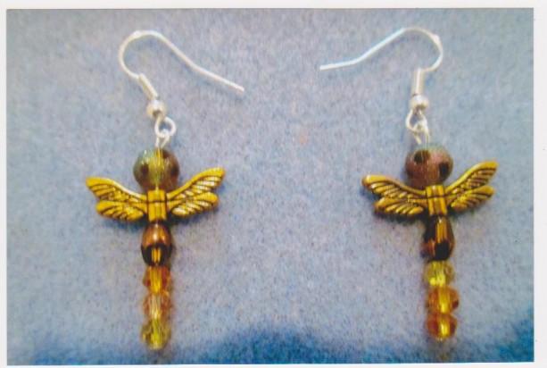 Golden Dragonfly Pierced Earrings