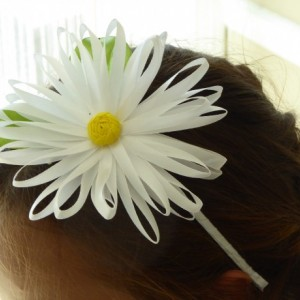White satin daisy flower handmade hairband/headband in Kanzashi technique