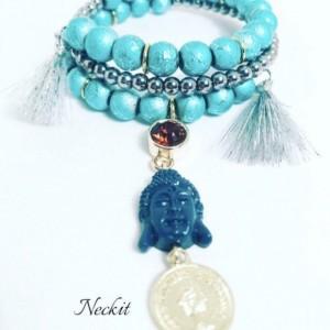 Buddah Charm Tassel Beaded Bracelet