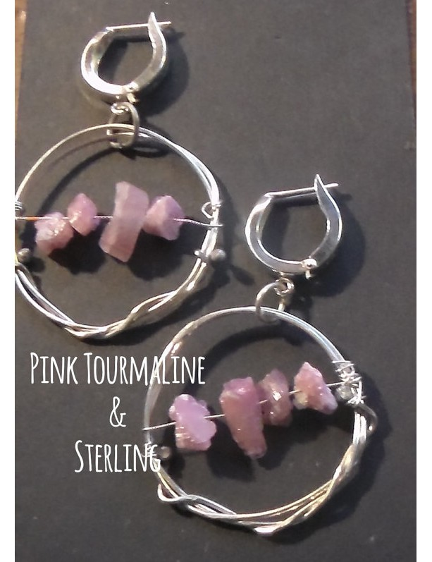 Pink Tourmaline and Sterling Silver Leverback earrings