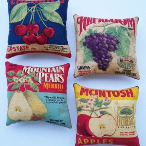 Set of 4 Primitive Fruit Advertisement Labels Ornies Tucks Shelf Sitters Bowl Fillers Gift