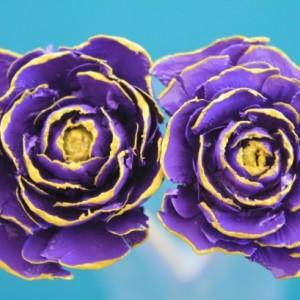 Purple Hand-Painted Cedar Rose Pine Cone Flower