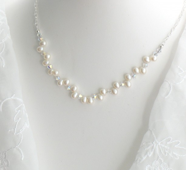 Genuine Ivory Freshwater Pearls Sterling Silver Crystal Necklace