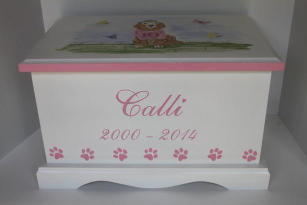 Pink Pet Bereavement Keepsake Chest Memory Box - Golden Retriever