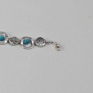 Silver Lentil and Turquoise Bracelet