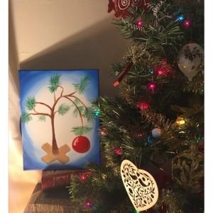 Charlie Brown Christmas Tree Acrylic Painting