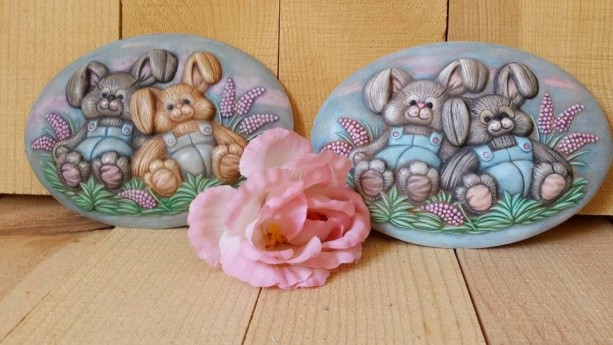 Two Bunny Plaques
