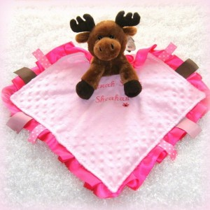 Personalized lovey, moose security blanket, stuffed animal small blankie, minky baby girl blanket, baby lovie, birth announcement available