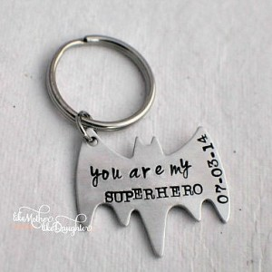 Men's Personalized Keychain - Personalized Hand Stamped BAT Keychain You Are My Superhero - Bat - Superhero Key chain - Valentine's Day Gift