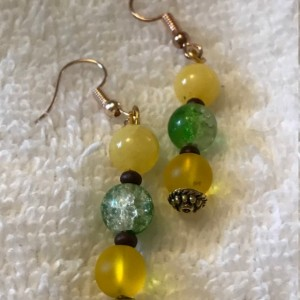 "A New Leaf handmade beaded necklace/earrings set  18"" long"