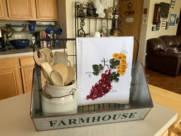 Burgundy grapes kitchen decor, flour sack dish towel, mom gift for her, bathroom hand towel, hostess gift, best selling items