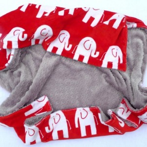 Elephant Baby Blanket - Red Black and White Minky Baby Blanket - Houndstooth Blanket for Your Little Sugar Doodle - Unisex Baby Blanket