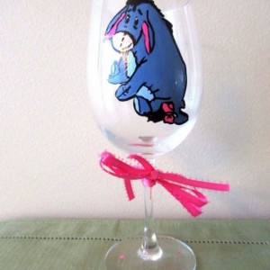 Hand Painted Glass  Eeyore Sitting friend of Winnie the Pooh  12 oz wine glass