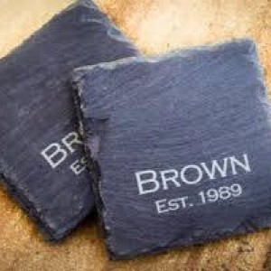 Custom Engraved Black Slate Coasters Set of (6)Personalized