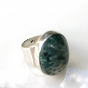Serpentine Sterling Silver Statement Thick Band Ring Size 6.5