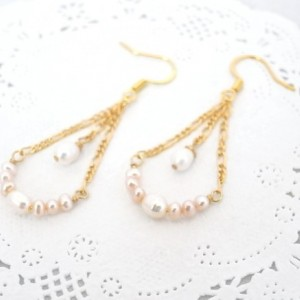 Earrings White and Pink Color Freshwater Pearl Gold Plated Cute Drop Dangle Jewelry Accessory Spring Swing Pastel Color Fish Hook