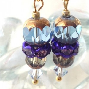 Simply Elegant Gold Luster Crystal Dangle Earrings, Blue