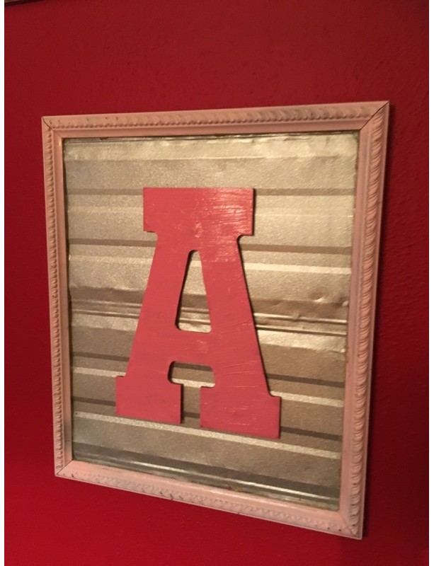 framed corrugated metal initial