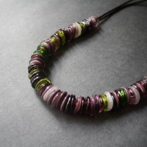 Glass Beaded Necklace - Dark Purple Green Lampwork
