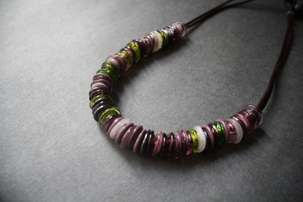 Glass Beaded Necklace - Dark Purple Green Lampwork