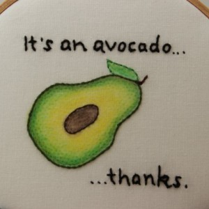 It's an Avocado, thanks. Hand Stitched Modern Embroidery Hoop Wall Hanging Decor
