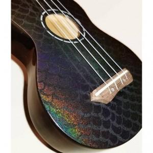Concert Mermaid Ukulele, Holigraphic Painted Glitter Ukulele, Black Ukulele, Rainbow Ukulele, Decorated instrument, soprano, tenor, baritone