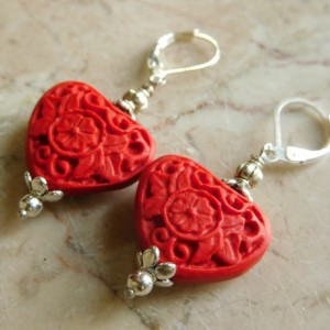 Red Cinnabar carve heart earrings, with silver tone lever back earrings. #E00308